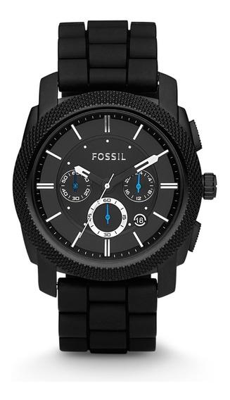 Reloj Caballero Fossil Fs4487 Color Negro De Silicon