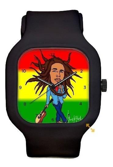 Relogio Bob Marley Desenho Pulseira Silicone A Prova Dagua