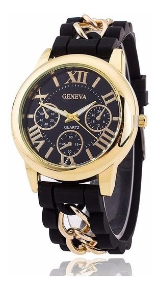 Relógio Dourado Pulseira Silicone Preto Feminino Rg002f