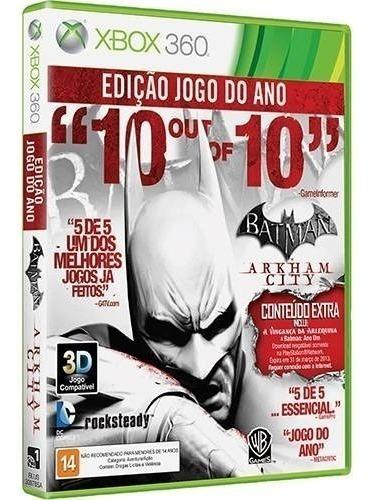 Batman Arkham City + 6 Dlc - Midia Fisica Lacrado - Xbox 360