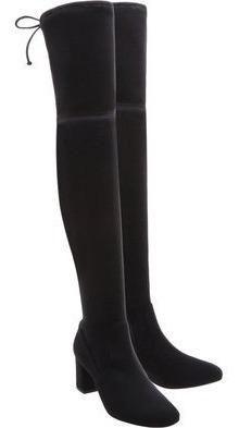 Bota Over-the-knee Veludo Amarração