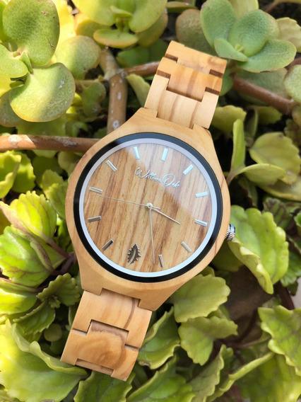 Reloj De Madera William Oak Personalizado Grabado Láser