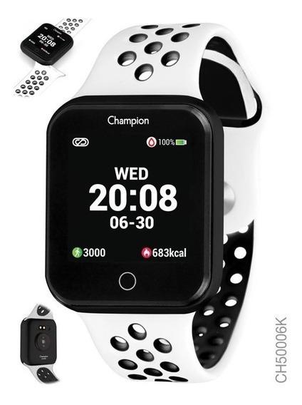 Relógio Smartwatch Champion Preto Branco Ch50006k Negativo