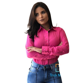 Camisete / Camisa Social Feminina Barato Manga Longa P Ao Gg