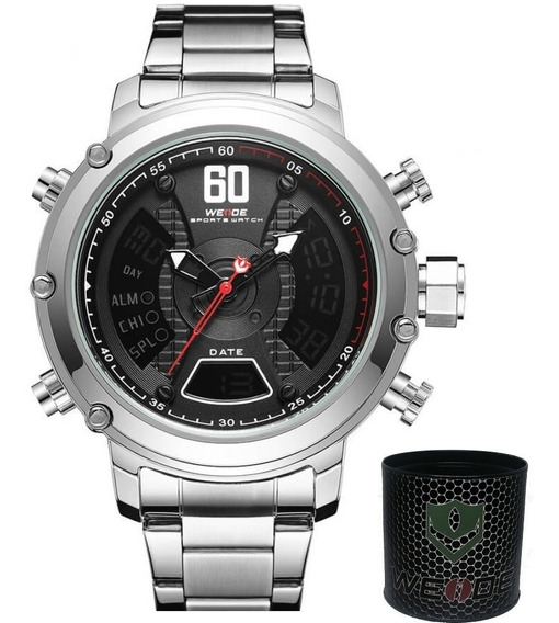 Relógio Masculino Original Esportivo Grande Cinza Prata Aço