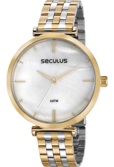 Relógio Seculus Feminino 77040lpskbs1 + Brinde
