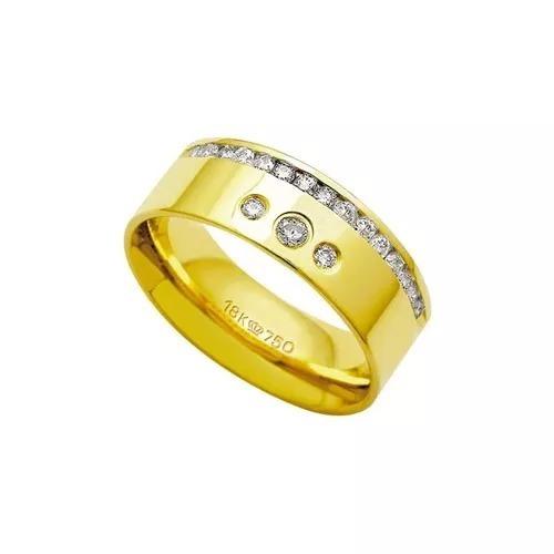 Aliança Anatômica De Ouro 18k 750 Com 17 Brilhantes -17.55 G