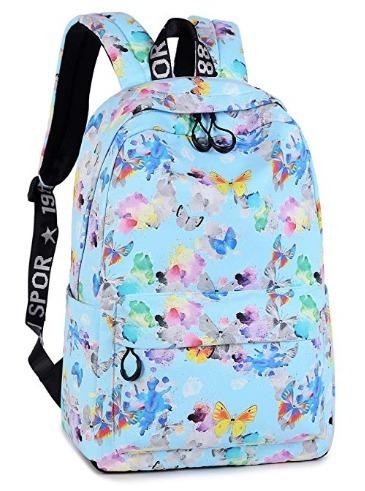 Mochila Escolar Leaper De Lona Impermeable De Mariposas Mt45