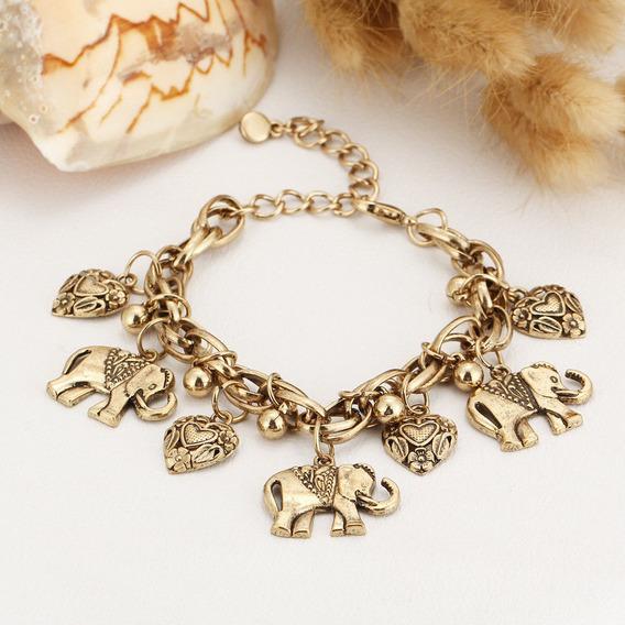 Pulseira Dourada Elefante (frete Grátis)
