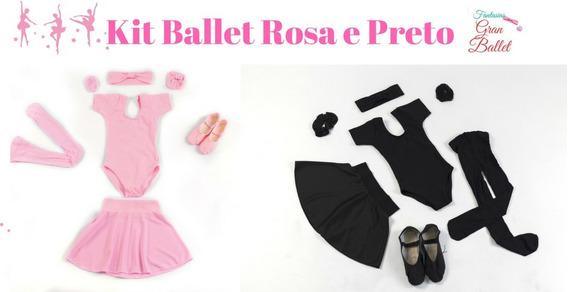 Roupa De Ballet Infantil, 2 Kits Rosa E Preto + Bolsa