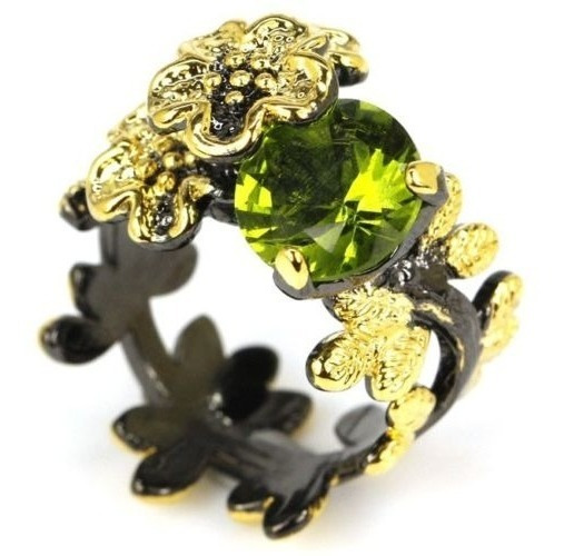 Anel Feminino C/banho De Ouro Negro, Peridoto Verde Natural