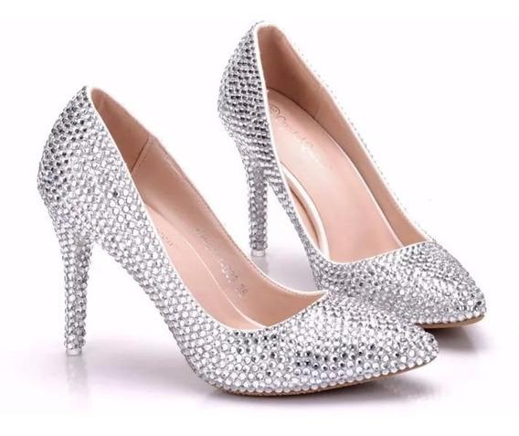 Sapato Salto Prata De Festa 15 Anos Sapatinho De Cristal