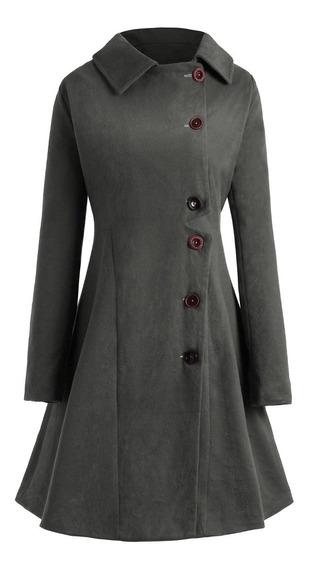 Abrigo Mujer Con Capucha Y Manga Larga Color Liso