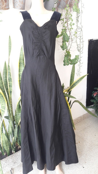 Vestido Vintage 50s Largo De Fiesta Seda Natural