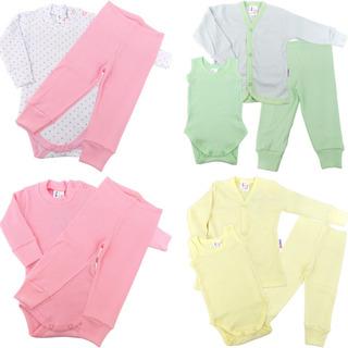 Roupa De Bebê Menina Kit 4 Conjuntos Calça Body Casaco 10pcs
