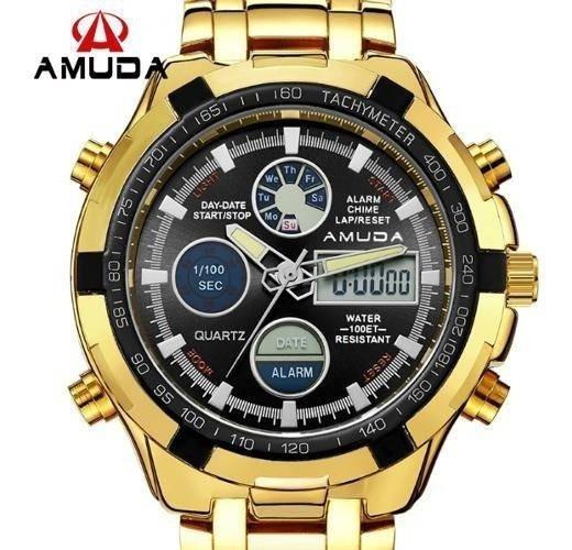Relógio Dourado Prata Masculino Amuda Luxo Modelo 2002