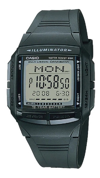 Relogio Casio Masculino Iluminator Db-36 1av Data Bank Digit