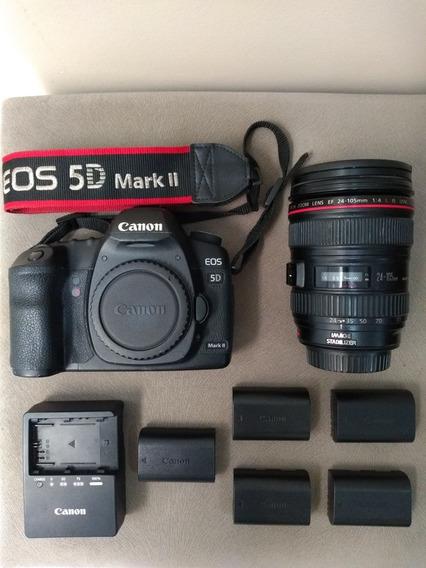 Canon 5d Mark Ll Lente 24-105 F4 Cartões Baterias Carregador