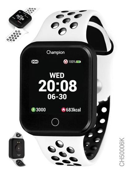 Smartwatch Champion Branco Com Preto
