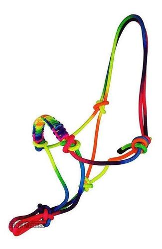 Imagem 1 de 2 de Cabresto Para Cavalo Arco-íris De Corda Com Charroa