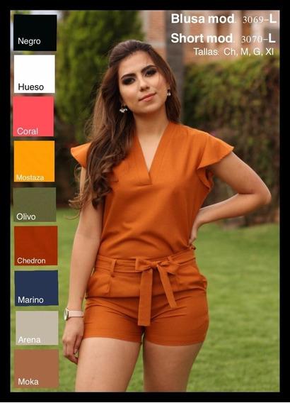 Conjunto De Blusa Y Short De Dama Liso Mod 30l