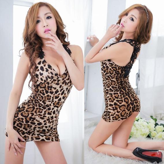 Erotico Vestido Corto De Leopardo Sin Manga