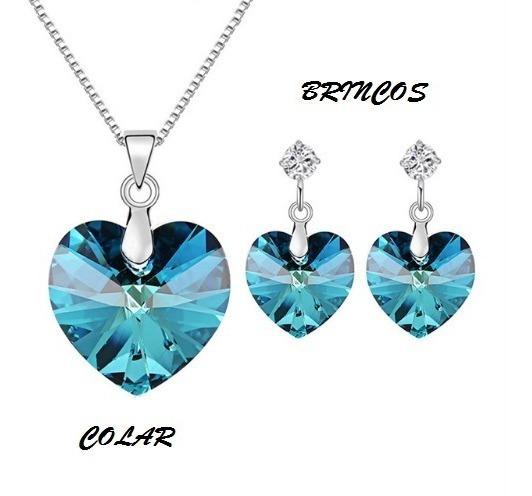Colar Feminino Coração E Brincos Cristal Swarovsk Azul 22822
