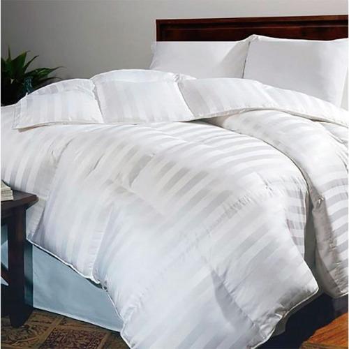 Imagen 1 de 1 de Plumón Sencillo Sateen Stripe Karytex - Blanco + 1 Funda