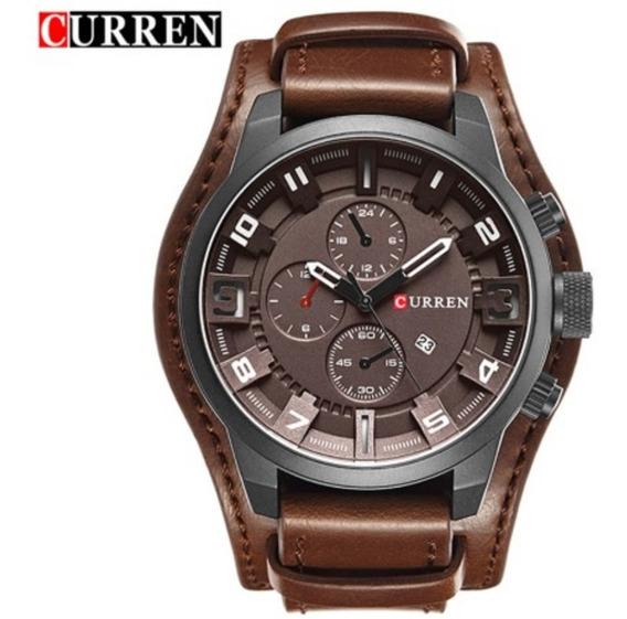 Relógio Curren Couro Bracelete E Fundo Marrom