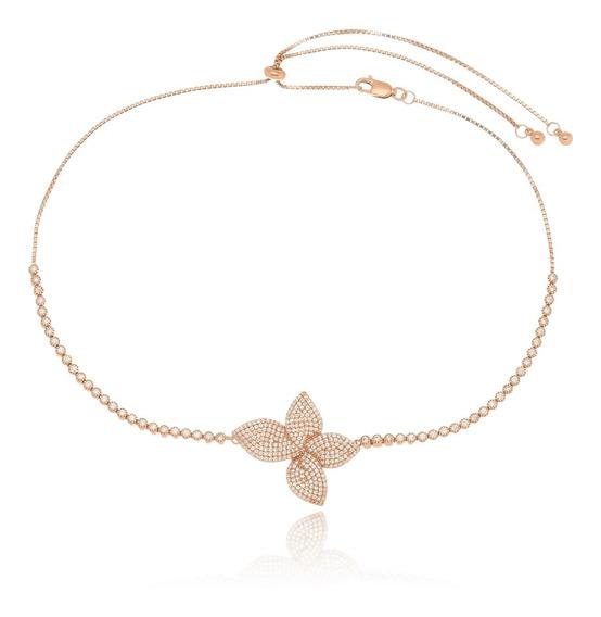 Gargantilha Choker Prata Banho Ouro Rose Flor