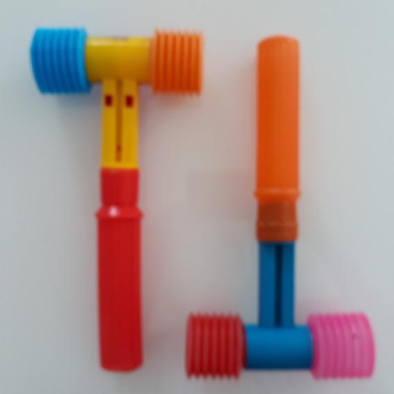 2 Martelinhos Plástico Bolha Antigos Brinquedo Jofer