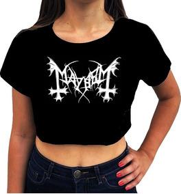 Blusa Cropped Feminina Mayhen Banda Death Metal