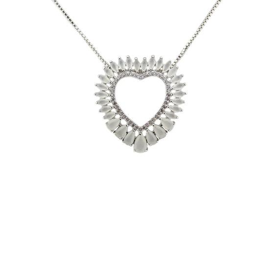 Colar Mandala Prata Coração Navete Opala - Cl020116