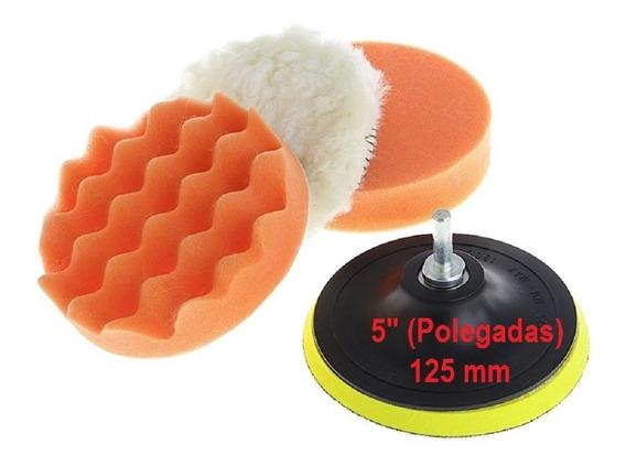 Kit Boinas Polimento 5 125 Mm C/ Adaptador Furadeira 5 Pçs