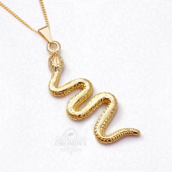 Colar Cobra Serpente Banhado A Ouro Com Garantia Oromiwa