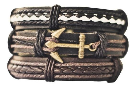 Kit 3 Pulseiras Masculinas De Couro Tribal Âncora Braceletes