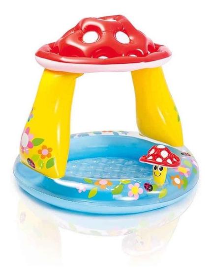 Piscina Inflável Bebês Infantil Cobertura Cogumelo - Intex
