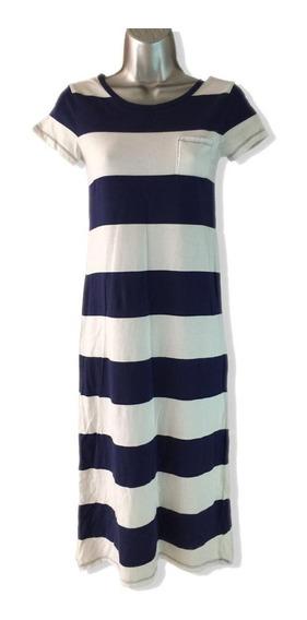 Vestido Rayas Azul Marino Y Blancas Talla L (10-12) Old Navy