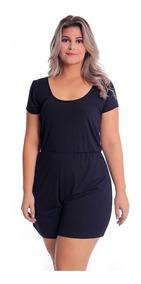 Macaquinho Curto T-shirt Plus Size Malha Macacão Feminino