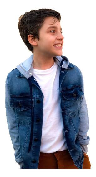 Jaquetinha Jeans Moletom Infantil Juvenil Menino Capuz 4 16