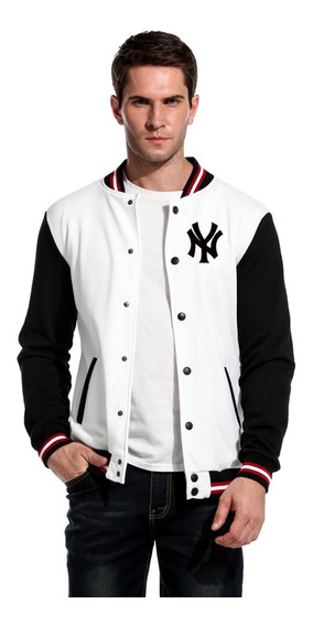 Jaqueta College Baseball Ny Bordado White Edition Americana