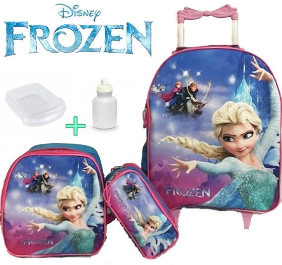 Kit Mochila Infantil Frozen Congelante Rodinha Promoção Top Lançamento