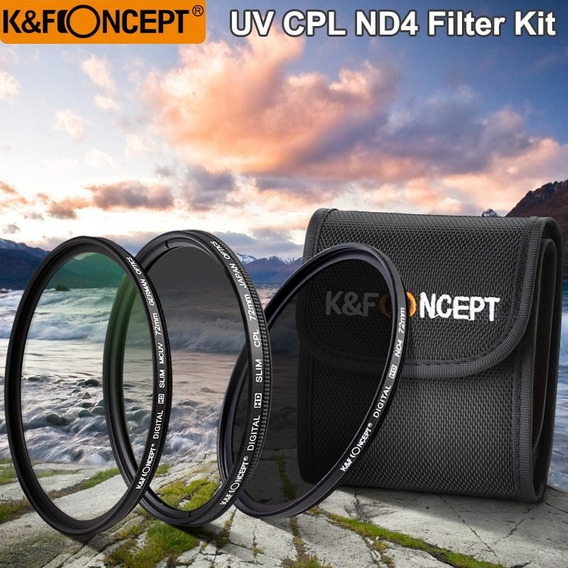 Conjuntos De Filtros K & F Concept Uv + Cpl + Nd4 Lens + Fil