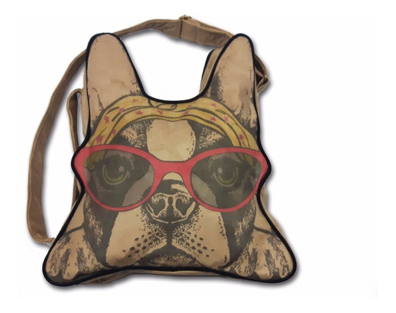 Cartera Bulldog Frances - Gamuza