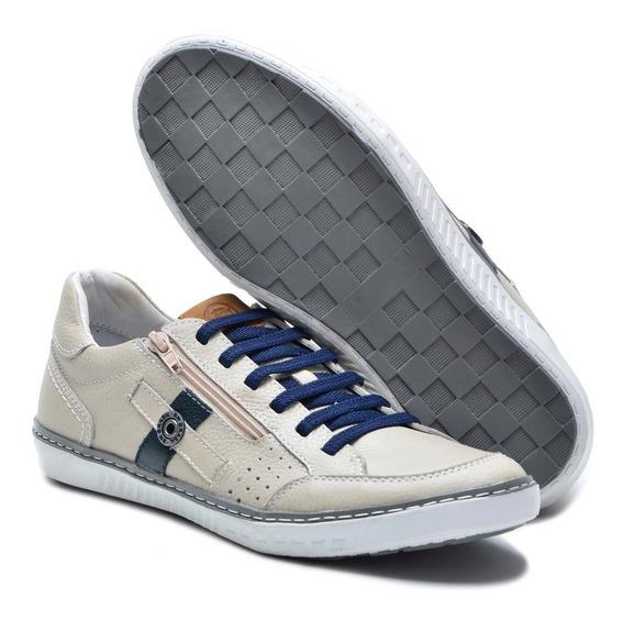 Sapato Casual Couro Masculino Elástico Ziper Bmbrasil 830