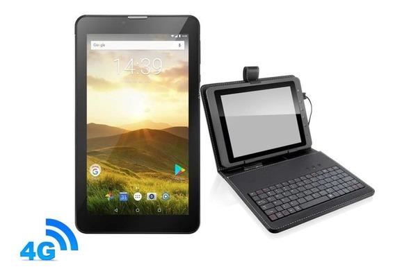 Tablet Preto 4g Android 8 Celular 2 Chips + Capa Com Teclado