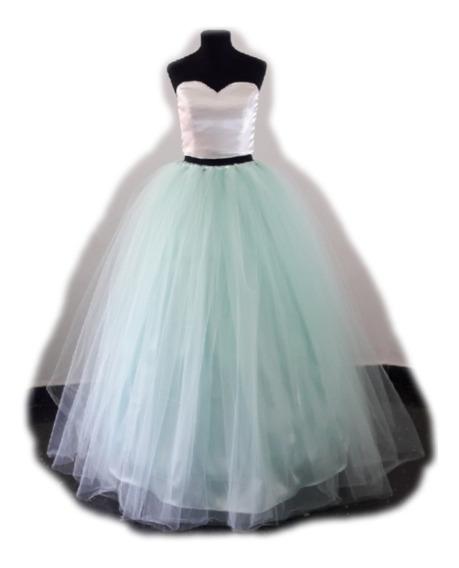 Vestido De 15 Años Novia - Crop Top Falda Larga Y Enagua
