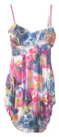 Vestido Hawaiiana Flores Hawaii Midi Fruncido Xs Usado $289a