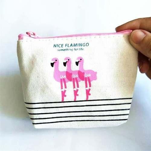 Bolsinha Porta Moedas Níquel Flamingos Feminina Moda