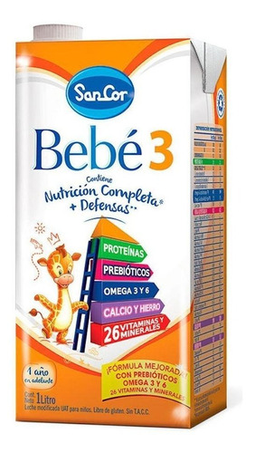 Leche de fórmula líquida Mead Johnson SanCor Bebé 3 sabor original por 24 unidades de 1L